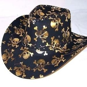Accessories - GOLD 💀 Western Hat